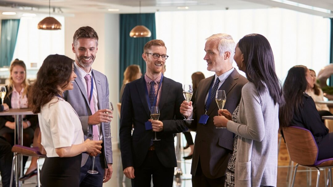 Building a referral network at a local event.